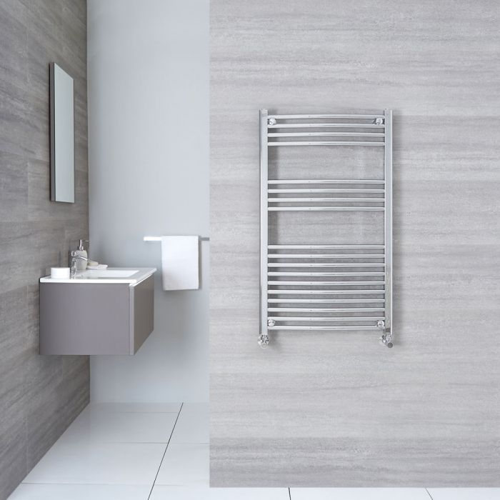"""Etna - Hydronic Chrome Curved Heated Towel Warmer - 39.25"""" x 23.5"""""""