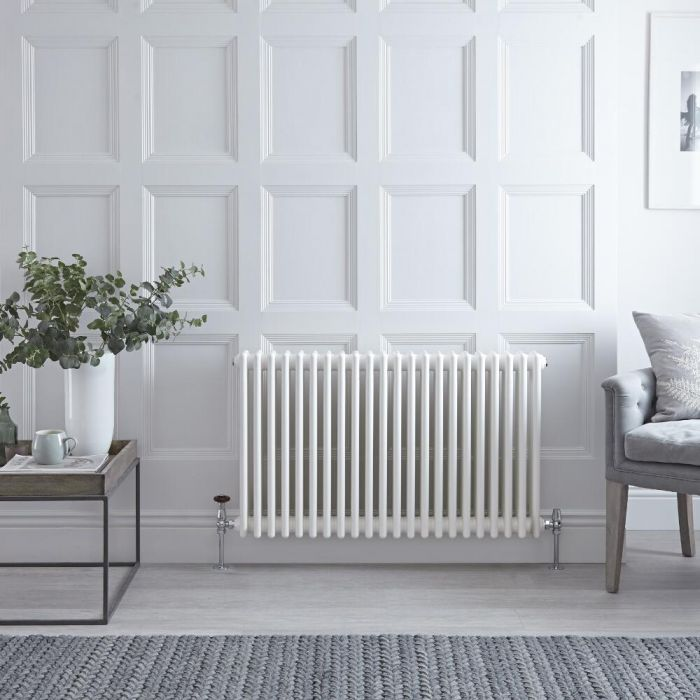 "Regent - White Horizontal 3-Column Traditional Cast-Iron Style Radiator - 23.5"" x 39"""