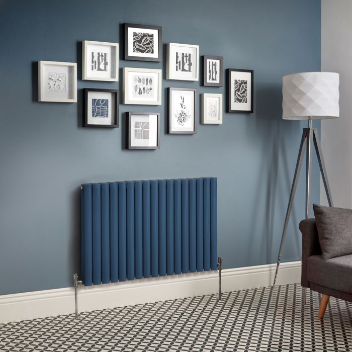 Revive - Dark Blue Horizontal Double-Panel Designer Radiator - All Sizes