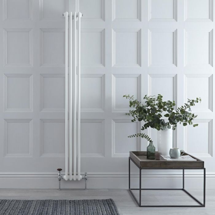 "Regent - White Vertical 2-Column Traditional Cast-Iron Style Radiator - 70.75"" x 8"""