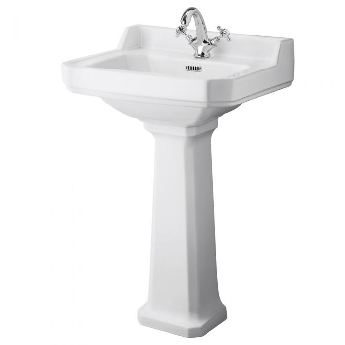 Traditional Carlton  Porcelain Sink and Pedestal 22""