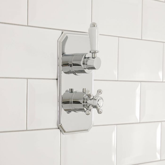 Elizabeth - Chrome Traditional Twin Thermostatic Shower Valve - One Outlet