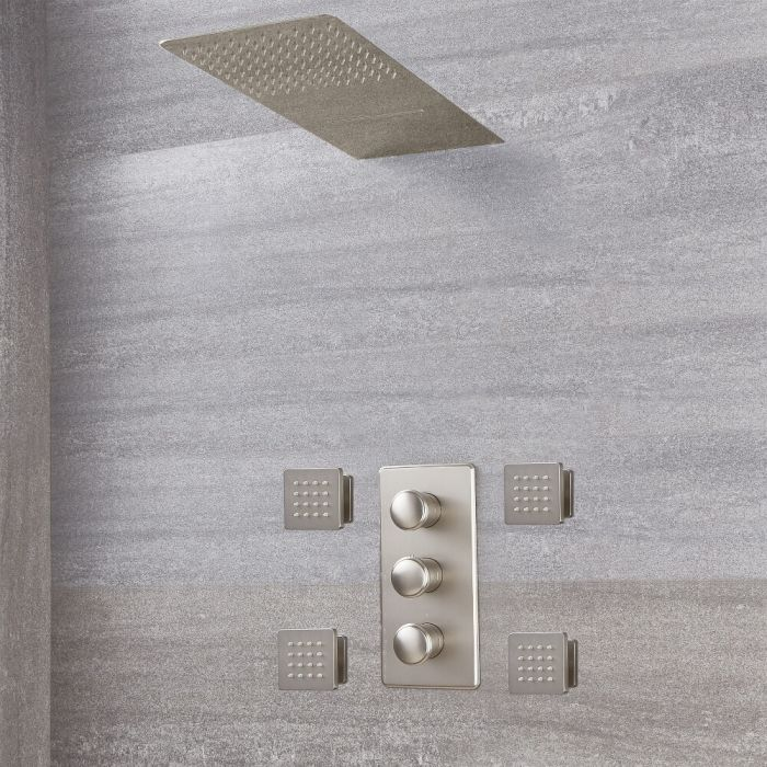 Eclipse Thermostatic Brushed Nickel Shower System with Waterfall Head and Jets