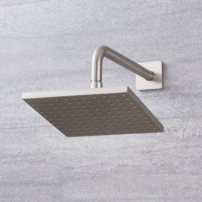"""Arcadia 8"""" Brushed Nickel Square Shower Head with Wall Arm"""