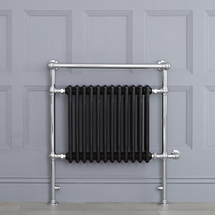 "Marquis Electric  - Black Traditional Heated Towel Warmer with Shelf - 36.75"" x 31.25"""