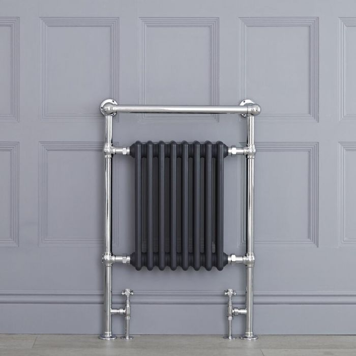 "Marquis - Anthracite Traditional Heated Towel Warmer with Shelf - 36.75"" x 24.5"""