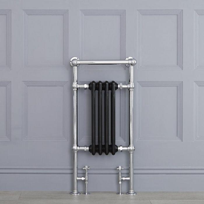 "Marquis - Black Traditional Heated Towel Warmer with Shelf  - 36.75"" x 17.75"""