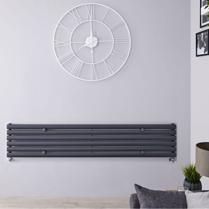"Revive - Anthracite Horizontal Single-Panel Designer Radiator - 14"" x 70"""
