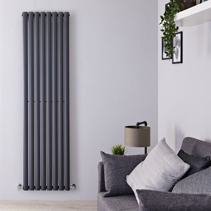 "Revive - Anthracite Vertical Single-Panel Designer Radiator - 70"" x 18.5"""