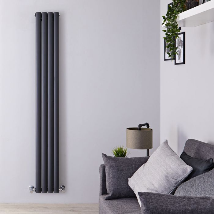 "Revive - Anthracite Vertical Double-Panel Designer Radiator - 70"" x 9.25"""