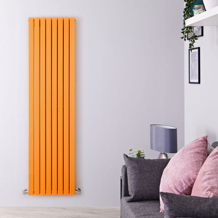 "Sloane - Light Orange Double Flat Panel Vertical Designer Radiator - 70"" x 18.5"""