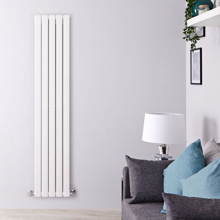 "Delta - White Vertical Double Slim-Panel Designer Radiator - 70"" x 13.75"""