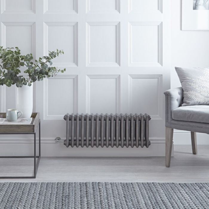 """Regent Electric - Raw Metal Lacquered Horizontal 3-Column Traditional Cast-Iron Style Radiator - 11.75"""" x 31"""""""