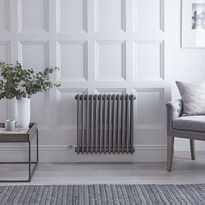 """Regent Electric - Raw Metal Lacquered Horizontal 3-Column Traditional Cast-Iron Style Radiator - 23.5"""" x 24"""""""