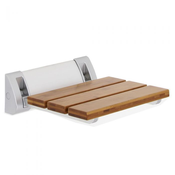 Bamboo Wood Folding Shower Seat with Wide Bracket