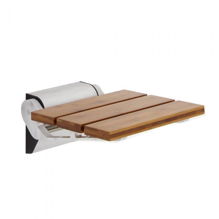 Bamboo Wood Folding Shower Seat Narrow Base
