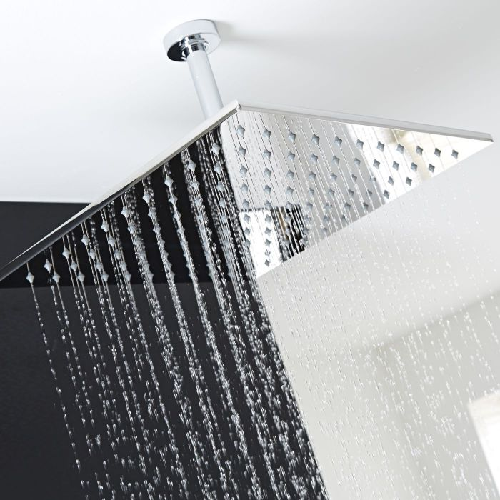 """One function 15"""" Square Ceiling Mounted Shower Head Stainless Steel"""