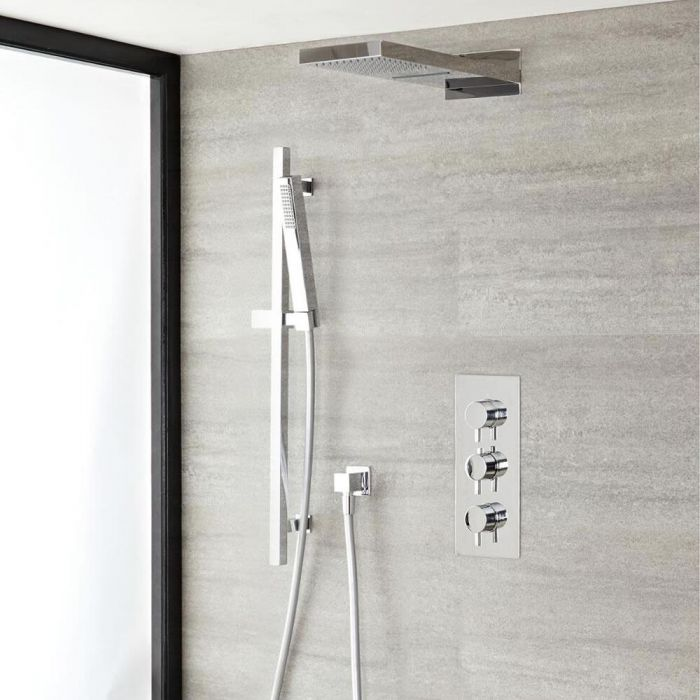Quest Thermostatic Chrome Shower System with Waterfall Shower Head and Slide Rail Kit