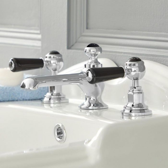 Elizabeth - Traditional Widespread Lever Handle Bathroom Faucet – Chrome and Black