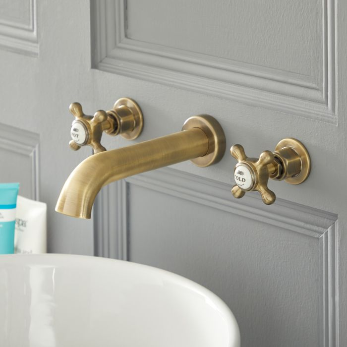 Elizabeth - Traditional Wall Mounted Widespread Bathroom Faucet - Brushed Gold