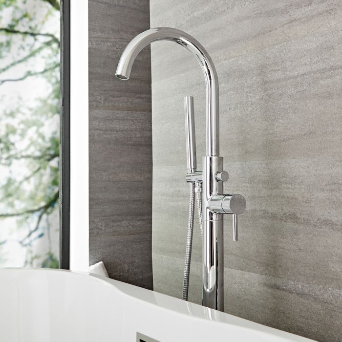 Quest – Modern Freestanding Tub Faucet with Hand Shower - Multiple Finishes Available