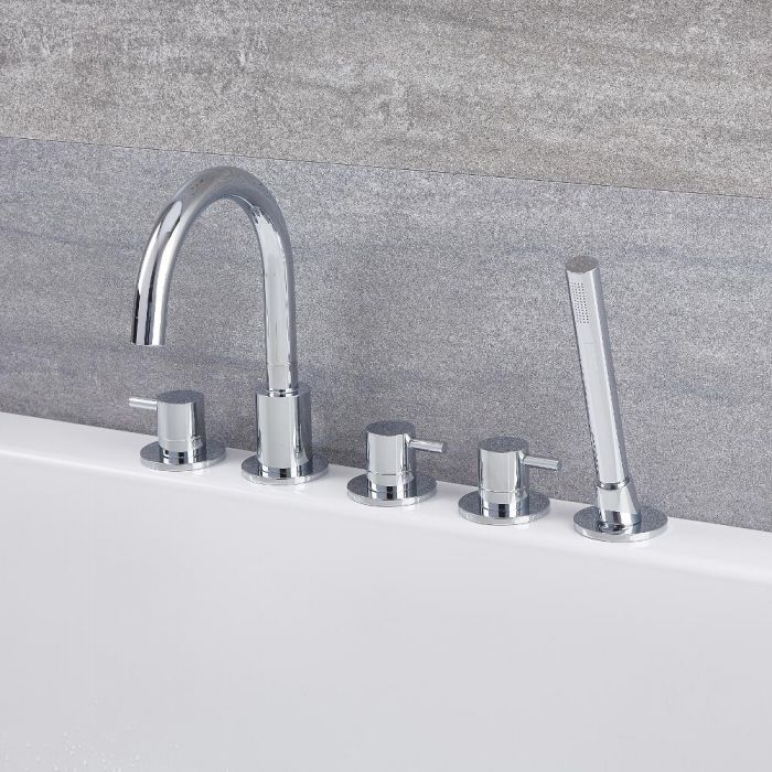 Quest - Chrome Roman Tub Faucet with Handshower