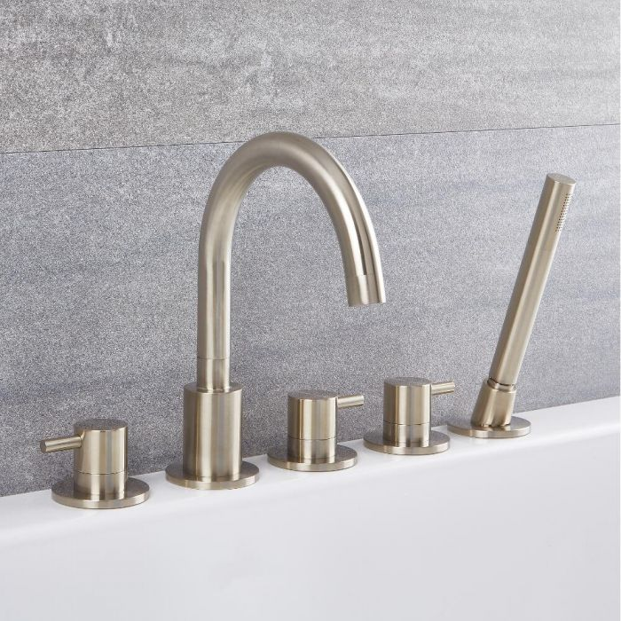 Quest - Brushed Nickel Roman Tub Faucet with Hand Shower