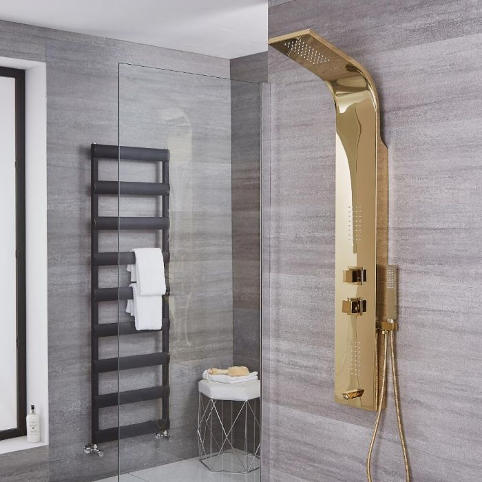 Ascot - Stainless Steel Thermostatic Shower Panel with Gold Finish and Tub Spout