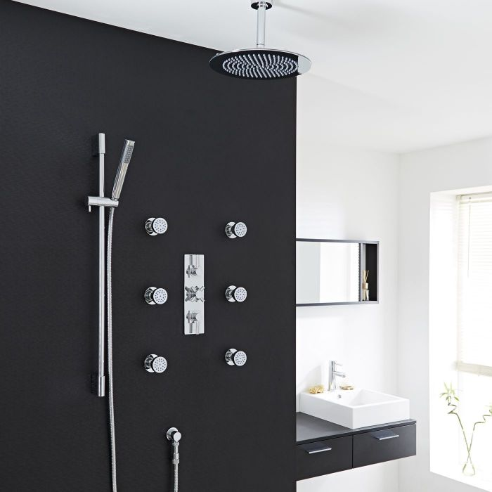 """Tec Thermostatic Shower System with 12"""" Head & Ceiling Arm, Handset & 6 Round Body Sprays"""