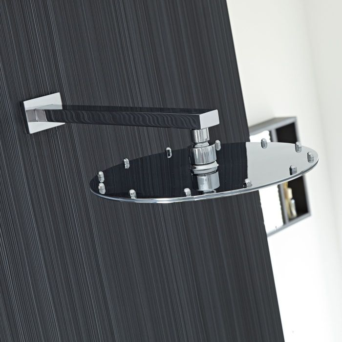 """12"""" Round Shower Head with Rectangular Wall Arm"""