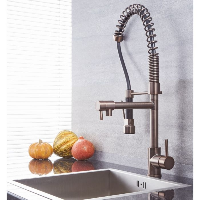 Quest - Oil-Rubbed Bronze Kitchen Faucet with Spring Spout and Pot filler