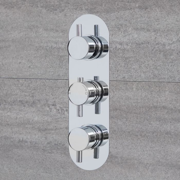 Quest - Chrome Triple Thermostatic Shower Valve - Two Outlets