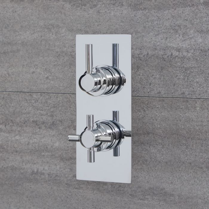 Tec - Chrome Twin Thermostatic Shower Valve with Diverter - Two Outlets
