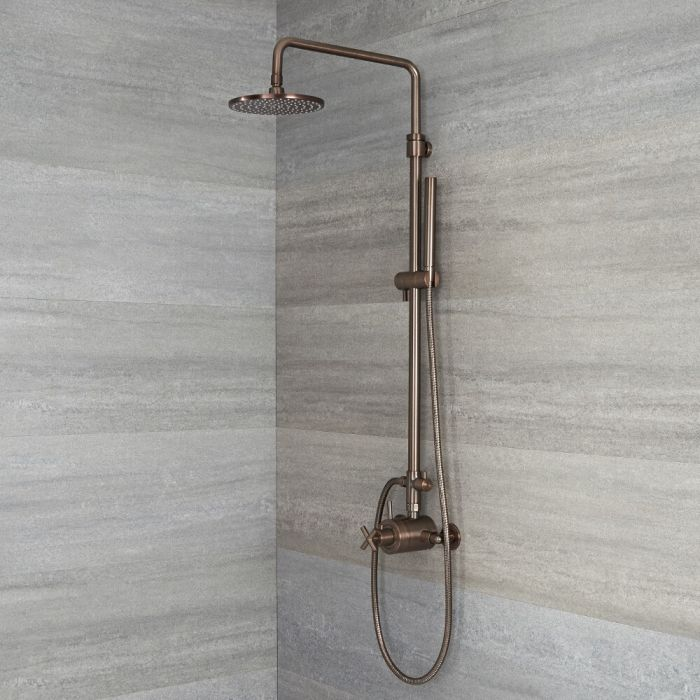Tec - Oil-Rubbed Bronze Exposed Pipe Shower System