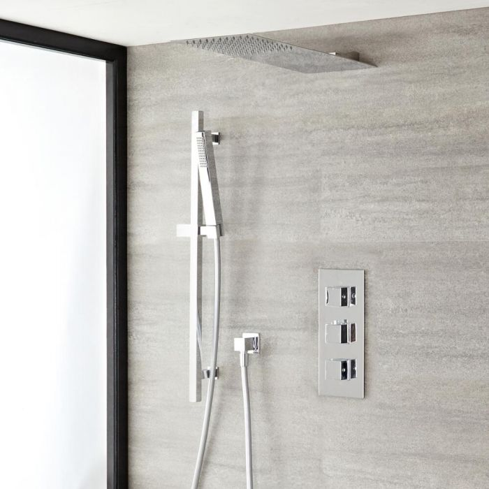 Kubix Thermostatic Chrome Shower System with Ultra Slim Shower Head and Slide Rail Kit