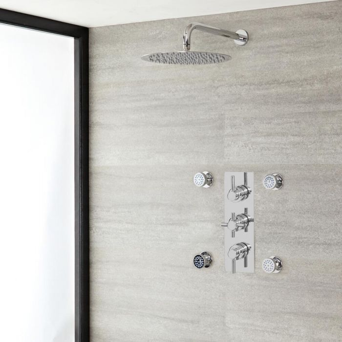 """Tec Thermostatic Chrome Shower System with Wall Mount 12"""" Shower Head and 4 Body Sprays"""