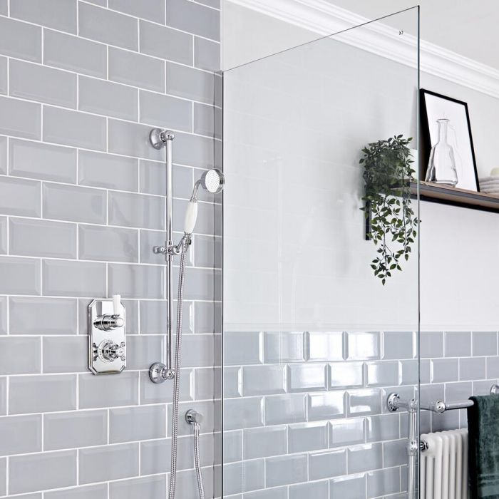 Elizabeth Traditional Thermostatic Chrome Shower System with Slide Rail Kit