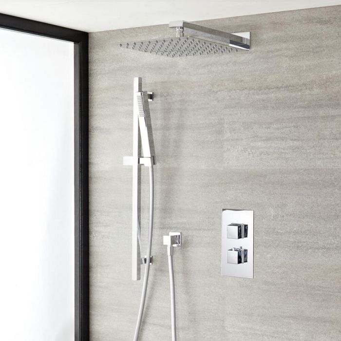 """Kubix Thermostatic Chrome Shower System with Wall Mount 12"""" Square Shower Head and Slide Rail Kit"""