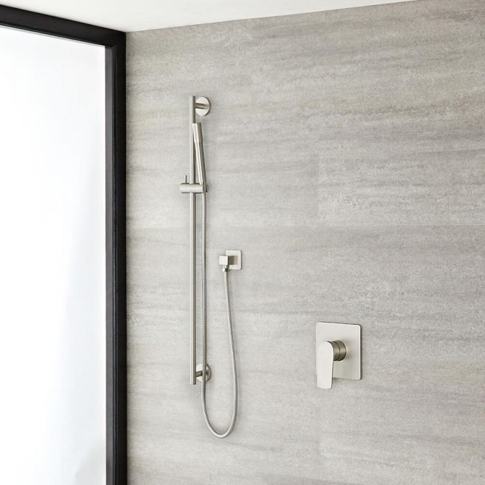 Arcadia Brushed Nickel Shower System with Slide Rail Kit