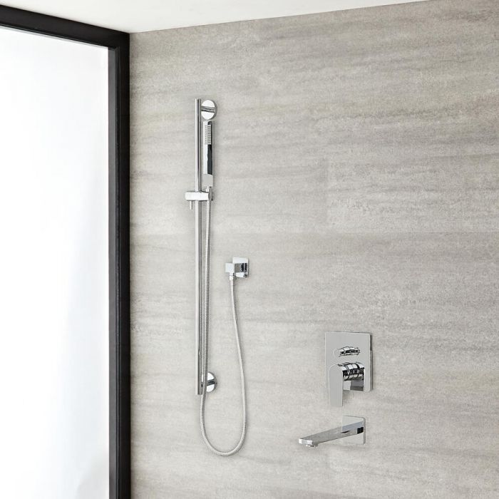 Arcadia Chrome Shower System with Slide Rail Kit and Tub Filler