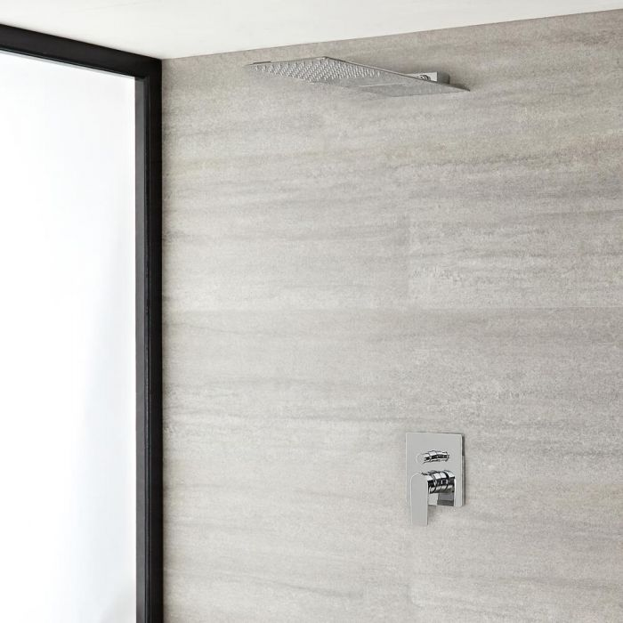 Arcadia Chrome Shower System with Waterfall Shower Head