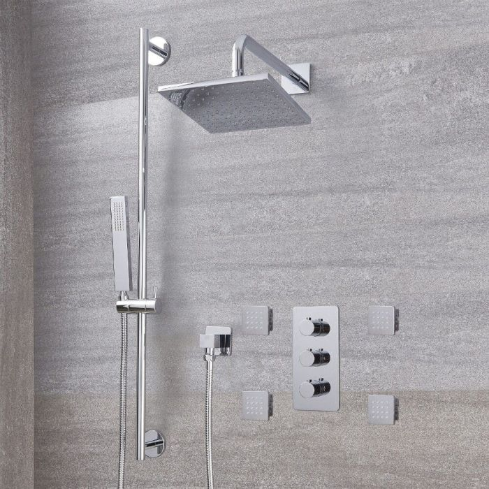 """Arcadia Thermostatic Shower System with 8"""" Shower Head, Slide Rail Kit and 4 Body Sprays - Available in Multiple Finishes"""