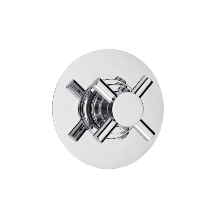 3-Way Diverter Shower Valve with Round Plate and Modern Crosshead Handle