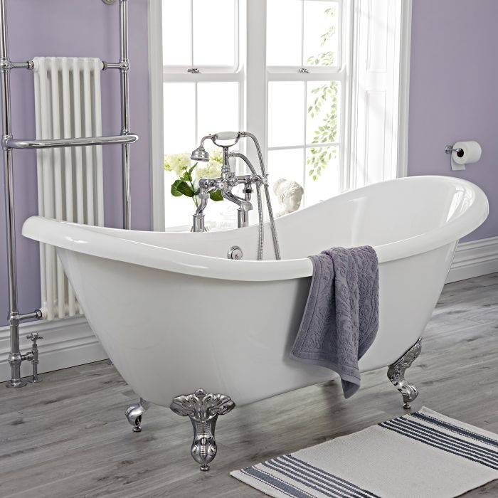 """Traditional Acrylic Double Ended Roll Top Freestanding Slipper Bath Tub 70"""""""