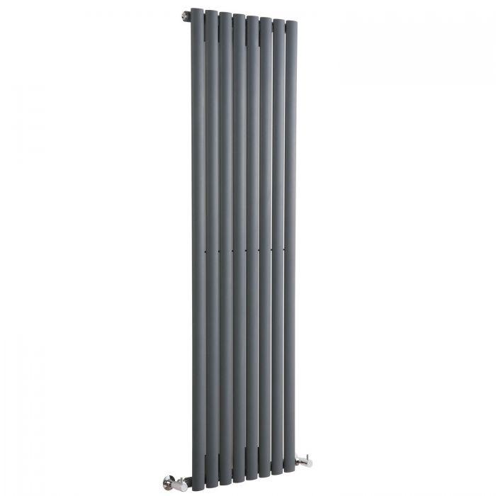 "Revive - Anthracite Vertical Single-Panel Designer Radiator - 63"" x 18.5"""