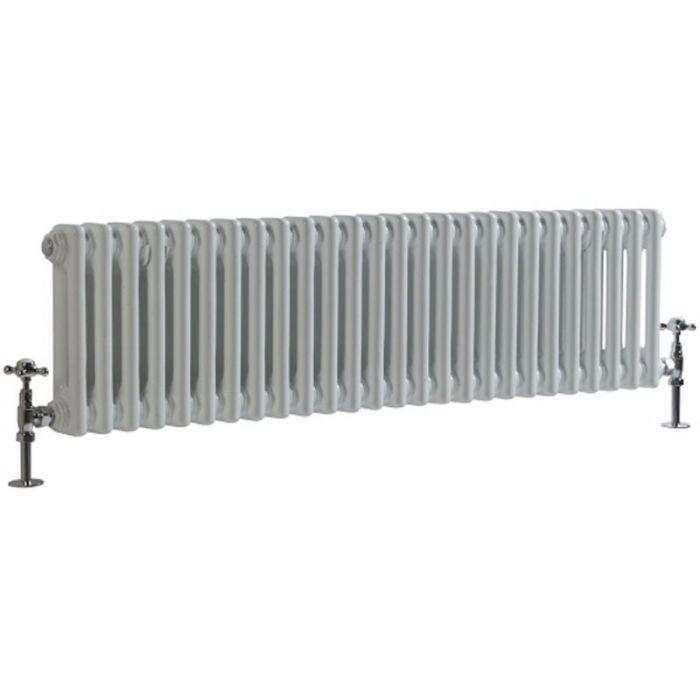 "Regent - White Horizontal 2-Column Traditional Cast-Iron Style Radiator - 11.75"" x 47"""