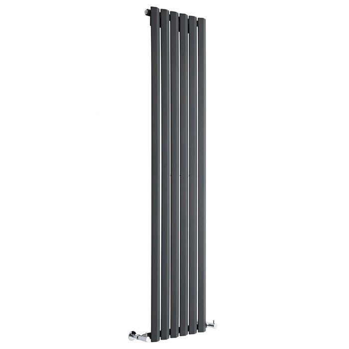 "Edifice - Anthracite Vertical Single-Panel Designer Radiator - 70"" x 16.5"""
