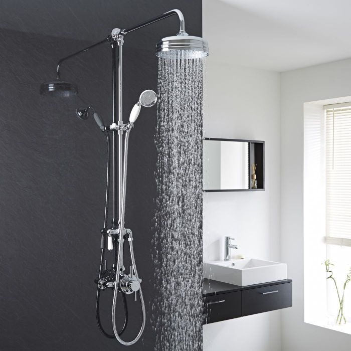 Exposed Pipe Shower System with Traditional Head and Handset