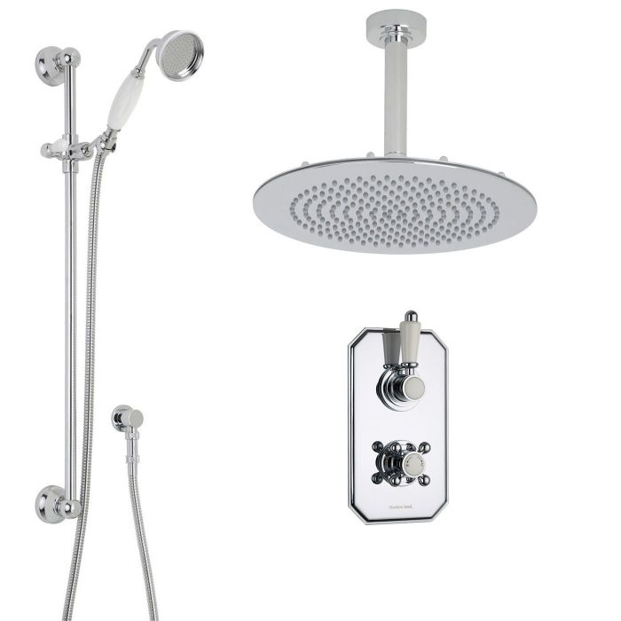 """Traditional Thermostatic 2 Outlet Shower System with 12"""" Round Head & Ceiling Arm & Handset"""
