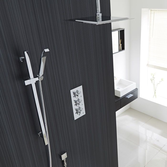 """Kristal Thermostatic Shower System with 12"""" Square Head & Ceiling Arm & Handset"""
